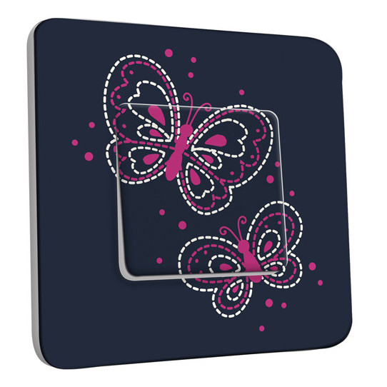 Interrupteur Décoré Simple Va et Vient - Papillons