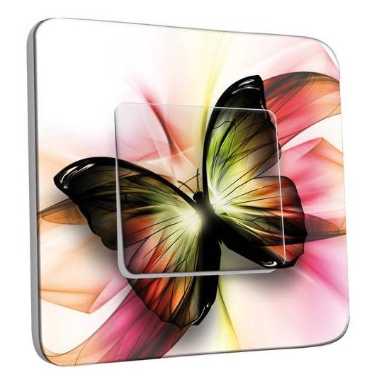 Interrupteur Décoré Simple Va et Vient - Papillons Abstrait Zoom