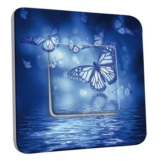 Interrupteur Décoré Simple Va et Vient - Papillons Bleus Eau