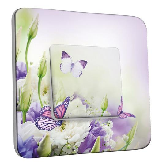 Interrupteur Décoré Simple Va et Vient - Papillons Mauves