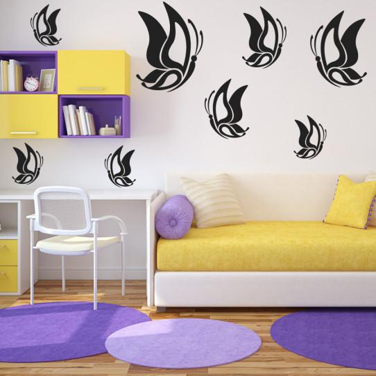 Kit 17 stickers papillon