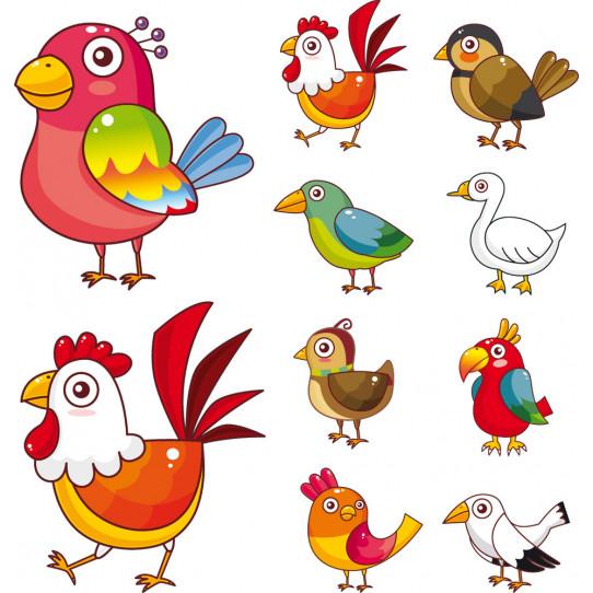 Kit stickers 10 oiseaux