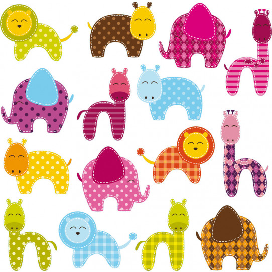 kit stickers 16 animaux