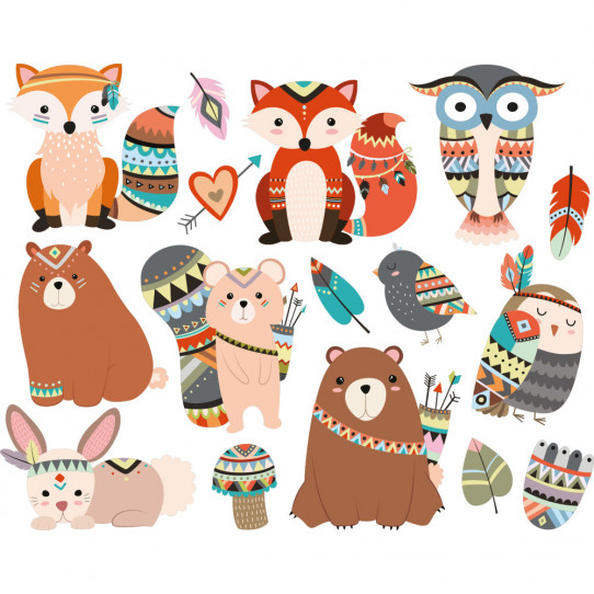 kit stickers animaux indiens