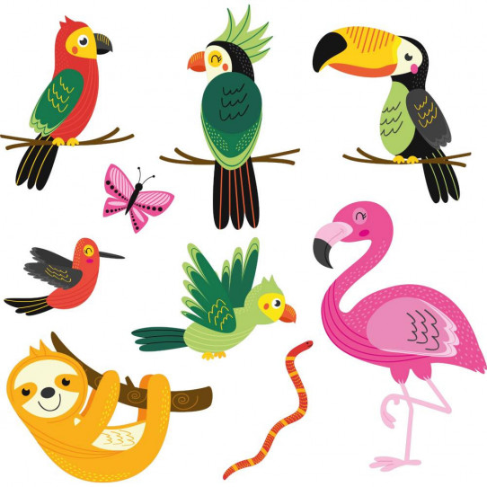 Kit stickers animaux tropicaux