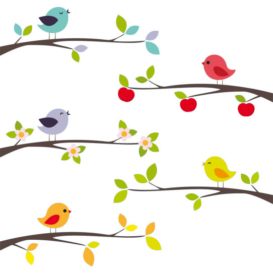 Kit stickers branches oiseaux
