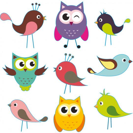 Kit stickers oiseaux hiboux