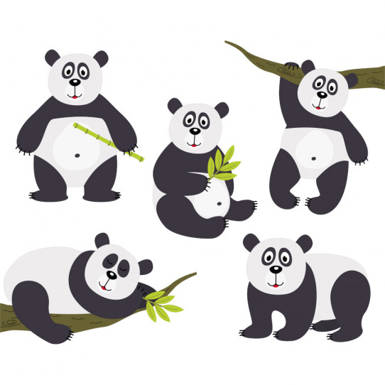 kit stickers pandas