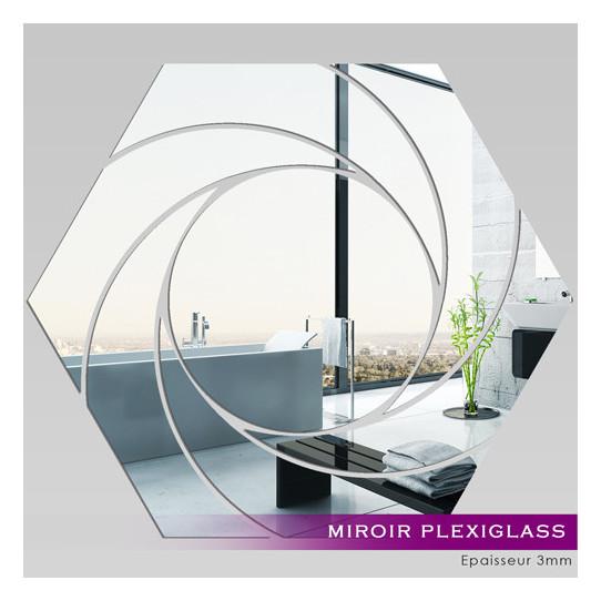 Miroir plexiglass acrylique hexagone spirales 1 des for Miroir acrylique