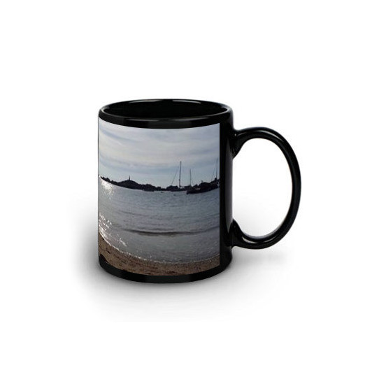 Mug Noir avec zone imprimable blanche