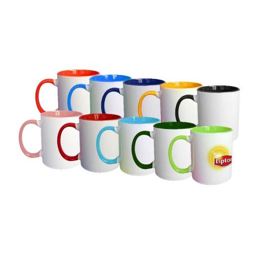 Mugs avec anse et intérieur de couleur