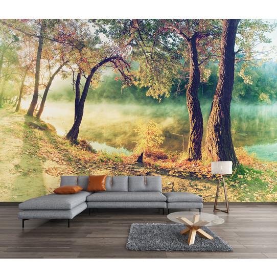 Papier peint lac forêt