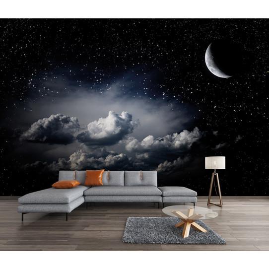Papier peint lune étoiles