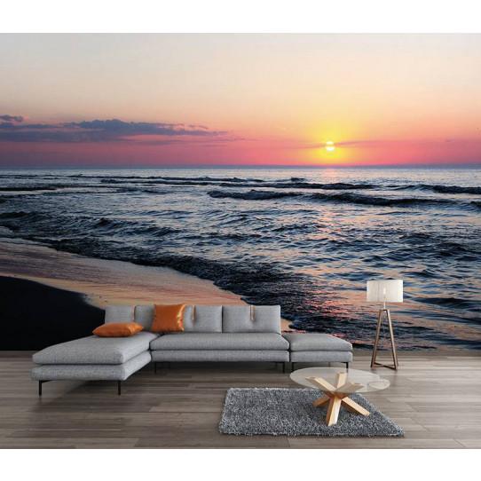 Papier peint mer couché de soleil