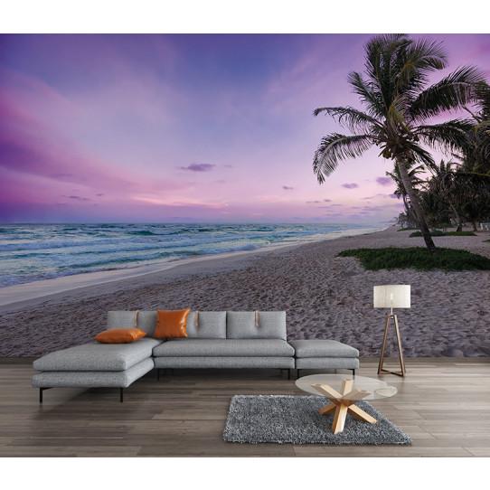 Papier peint plage palmiers