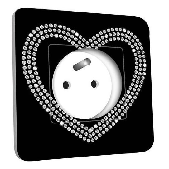 Prise décorée - Coeur En Strass Fond Noire