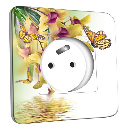 Prise décorée - Fleurs Papillons 10