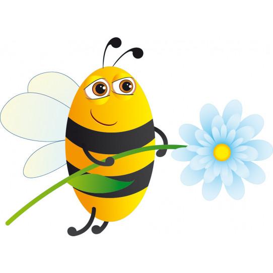 Stickers abeille fleur