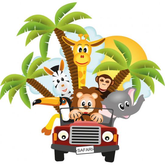Stickers animaux de la jungle en voiture