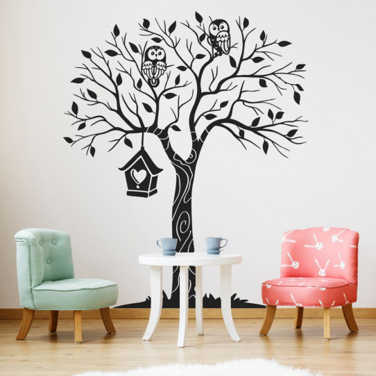 Stickers arbre hiboux