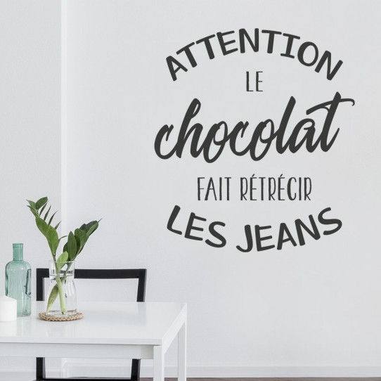 Stickers Attention le chocolat fait rétrécir les jeans