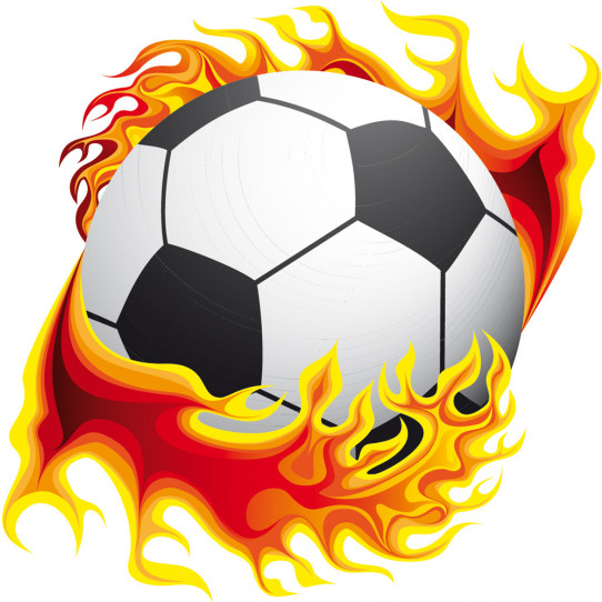 Stickers ballon de foot en flamme