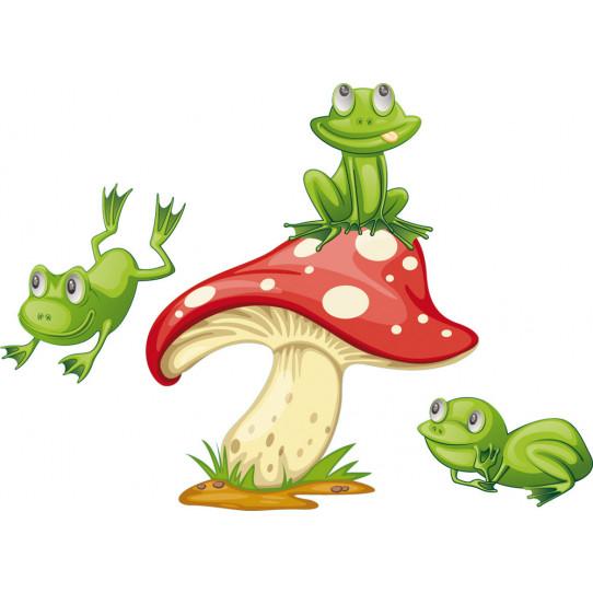 Stickers champignon grenouilles