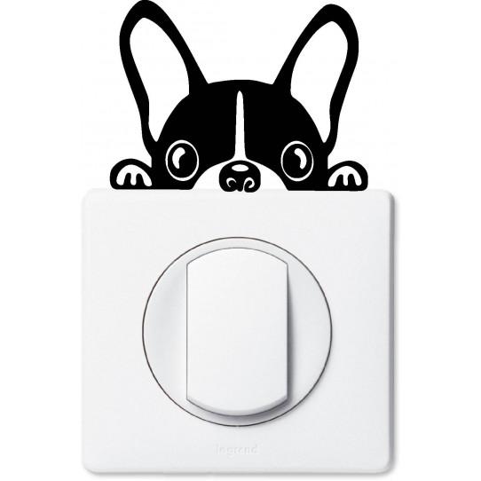 Stickers chien bouledogue pour prise et interrupteur
