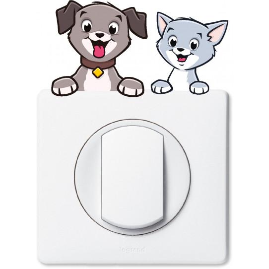 Stickers chien chat prise et interrupteur