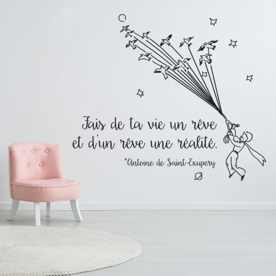 Stickers citation fais de ta vie un rêve et d'un rêve une réalité