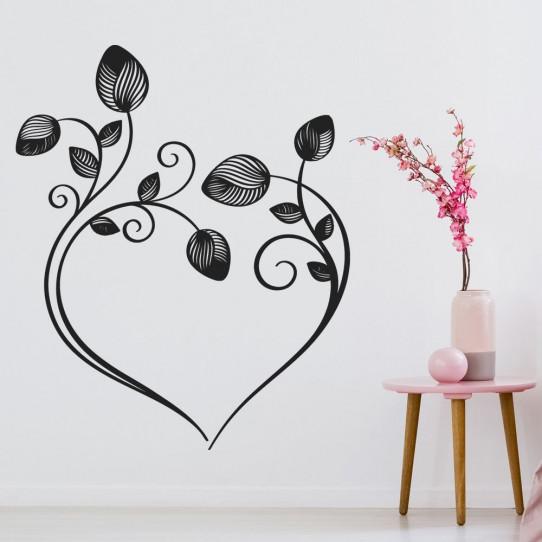 Stickers coeur fleurs