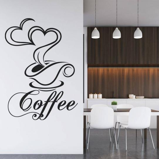 Stickers coffee tasse coeurs