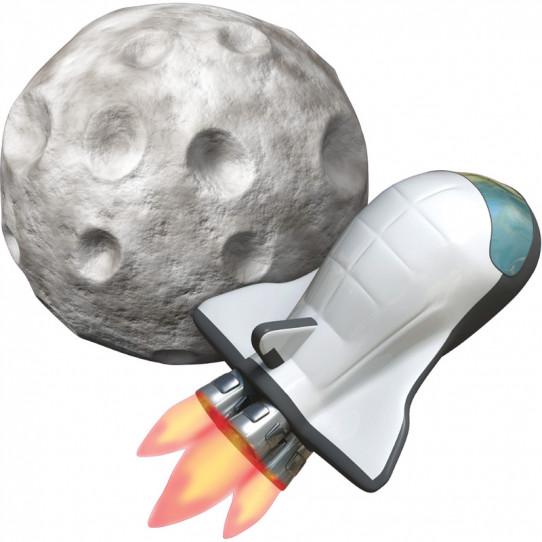 Stickers effet 3D- Astéroïde Fusée Spaciale