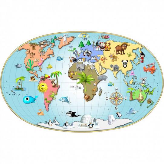 Stickers effet 3D- Carte du monde