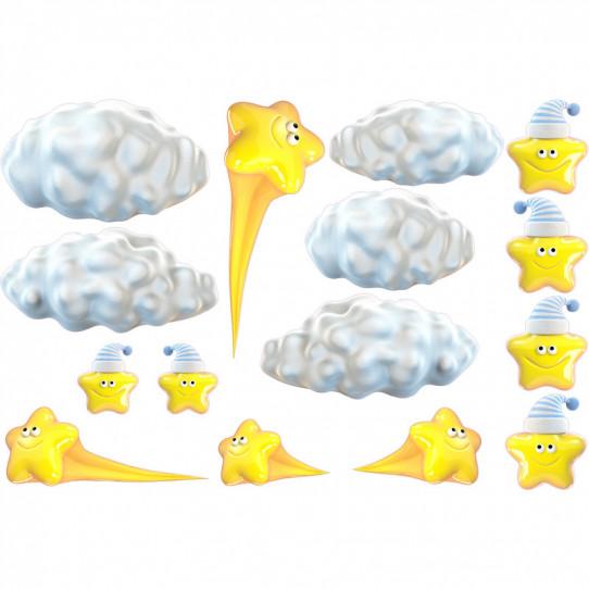 Stickers effet 3D- Kit Etoiles Nuages