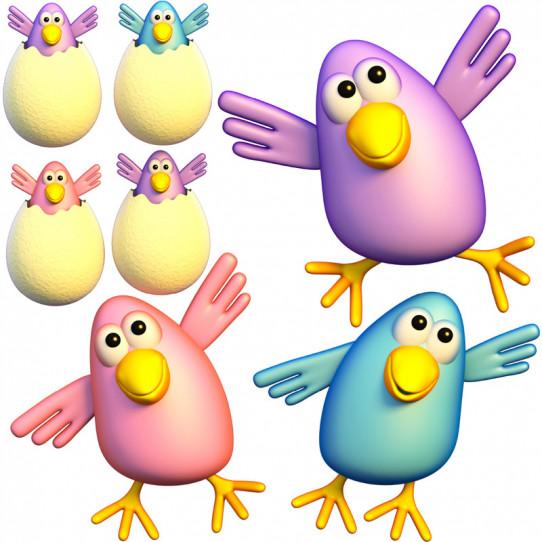 Stickers effet 3D- Kit Oiseaux