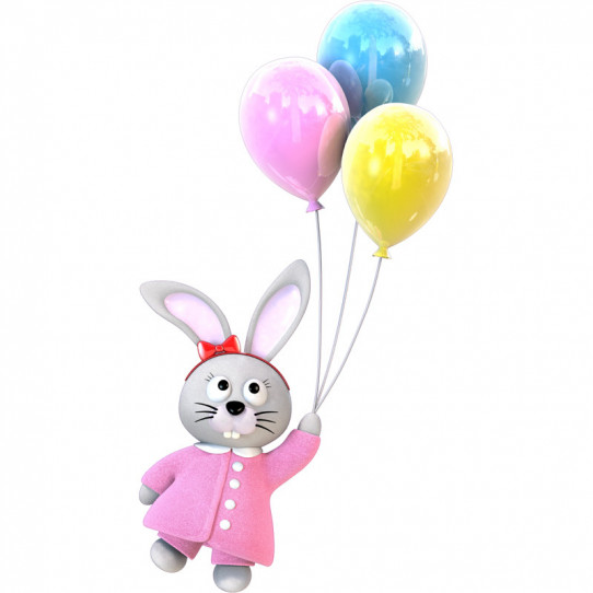 Stickers effet 3D- Lapin Ballons