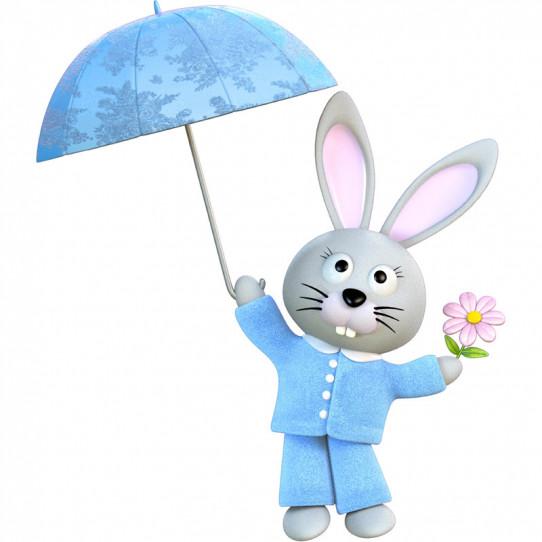 Stickers effet 3D- Lapin Parapluie