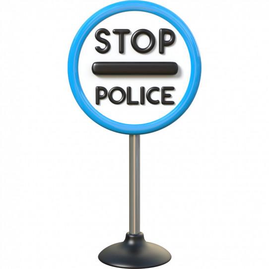 Stickers effet 3D- Panneau Stop Police