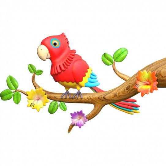 Stickers effet 3D - Perroquet 3