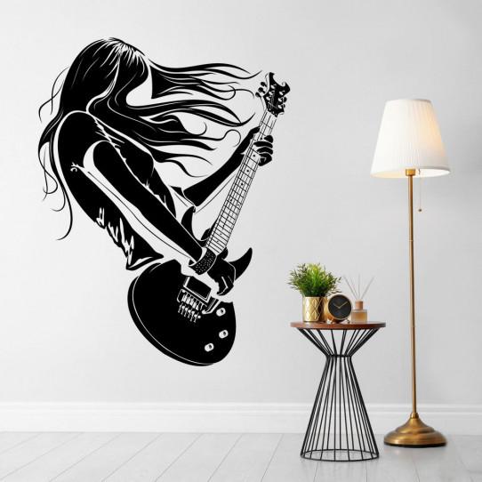 Stickers femme guitariste
