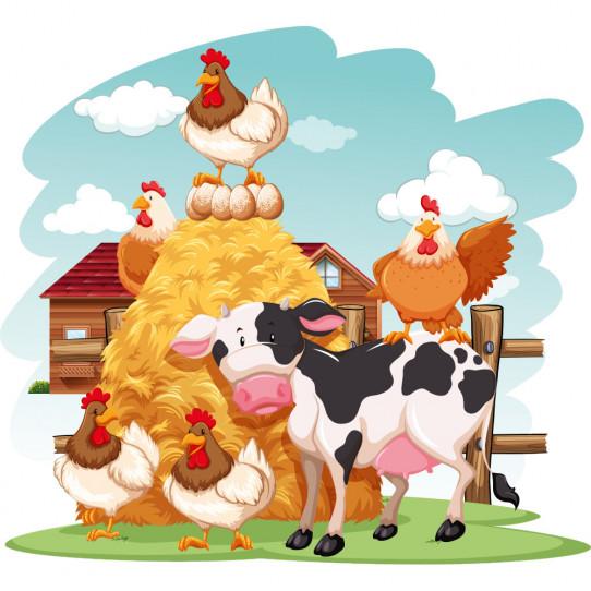 Stickers ferme vache et poules