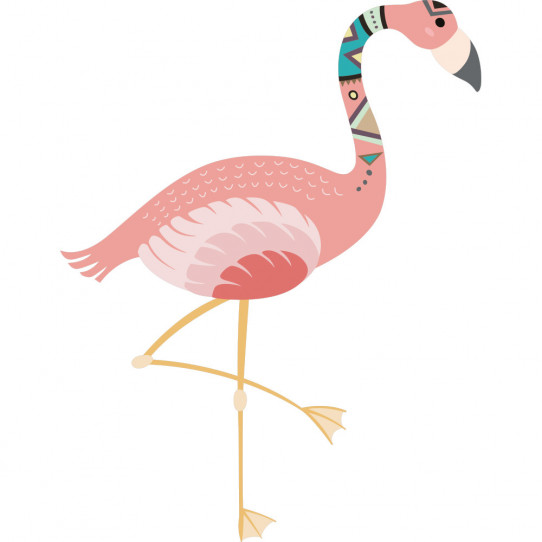 Stickers flamant rose indien