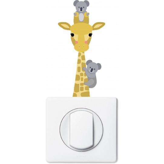 Stickers girafe et koala pour prise et interrupteur