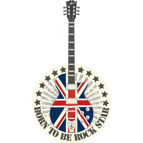 Stickers guitare angleterre rock star