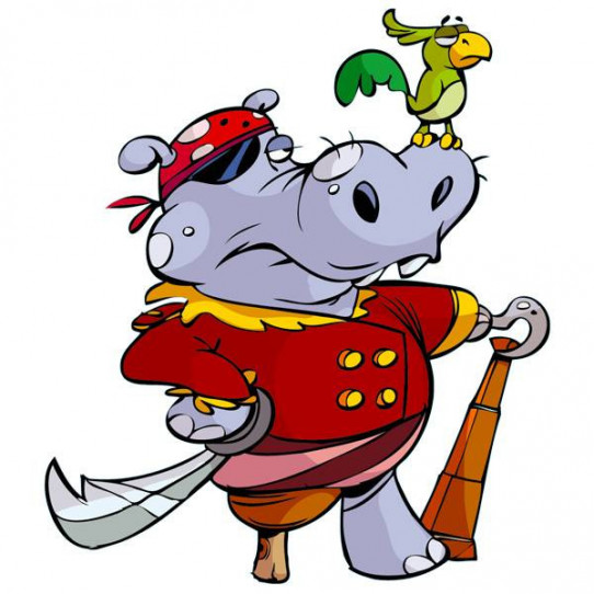 Stickers Hippo Pirate