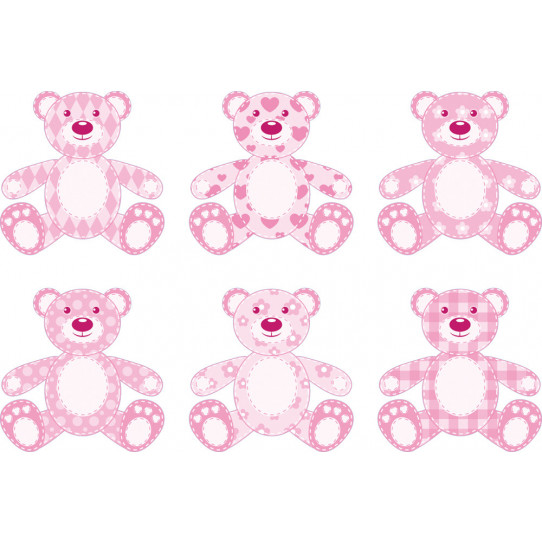 Stickers kit 6 oursons rose