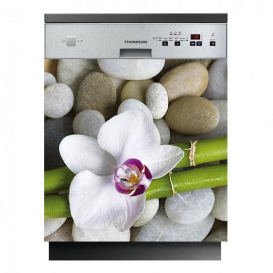 Stickers lave vaisselle fleur galet