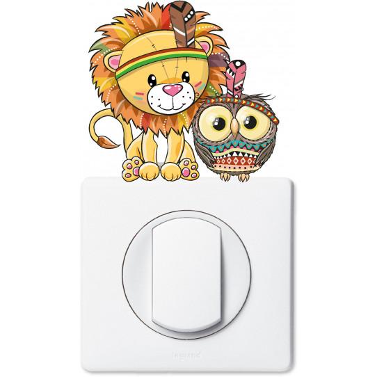 Stickers lion hibou pour prise et interrupteur