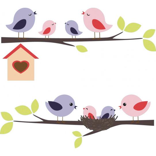 Stickers maman et bébé oiseaux